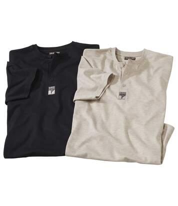 Pack of 2 Men's Button Neck T-Shirts - Beige Black