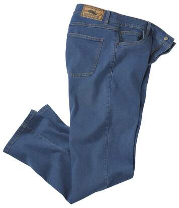Blaue Regular-Jeans mit Stretch-Effekt