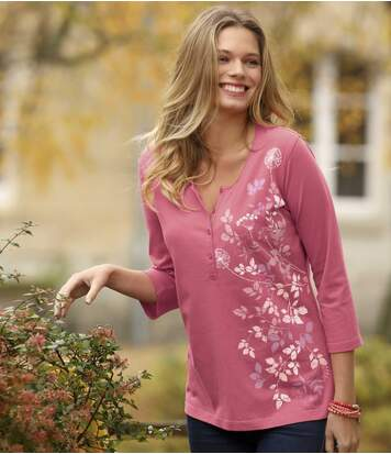 Блуза из Хлопка с Цветочным Принтом фото