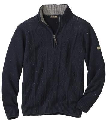 Pullover mit Zopfmuster und RV-Kragen