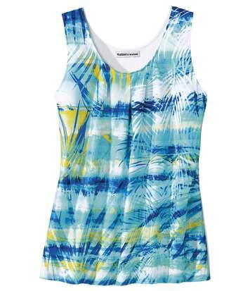 Trópusi mintájú, kettős anyagú trikó