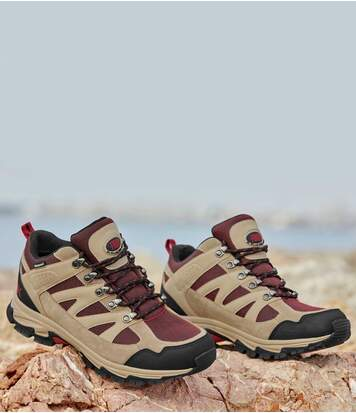 Men's Mid-Rise Hiking Shoes - Beige Black Red