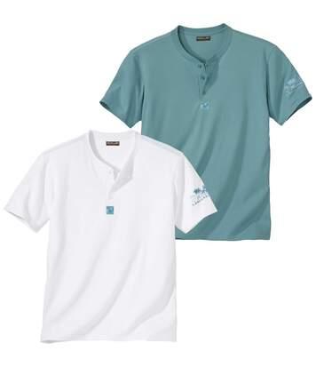 Pack of 2 Men's Laniakea Beach T-Shirts - White Turquoise