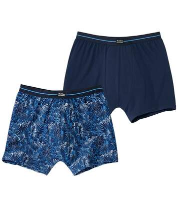 Pack of 2 Men's Tropical Print Boxer Shorts - Blue