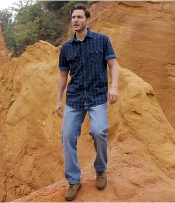 Modré strečové džínsy