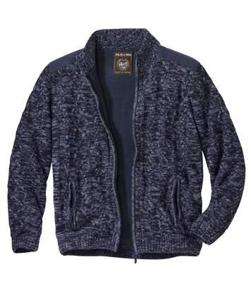 Men's Blue Fleece-Lined Knitted Jacket - Full Zip
