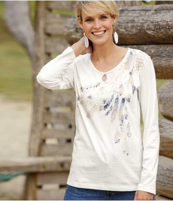 Women's Ecru Long Sleeve Top - Feather Print
