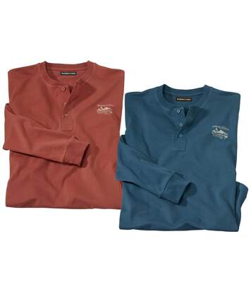 Pack of 2 Men's Long-Sleeved Tops - Terracotta Blue