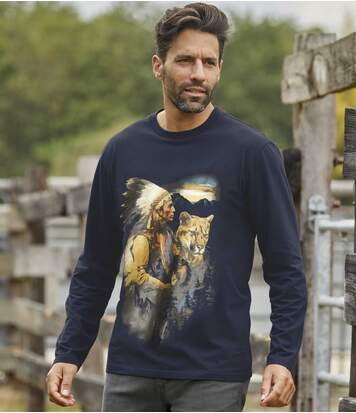 Men's Navy Cougar Print Top