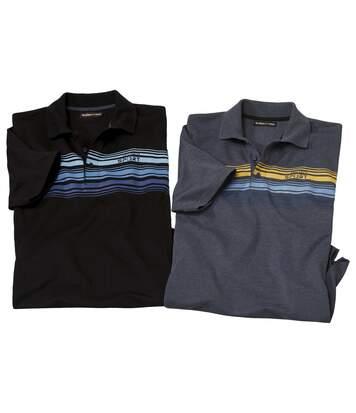 Sada 2 sportovních proužkovaných polo triček