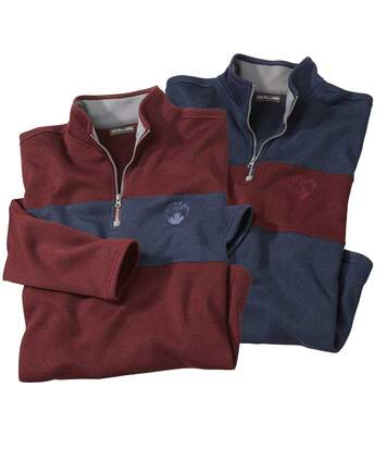 Pack of 2 Men's Brushed Fleece Jumpers - Navy Burgundy