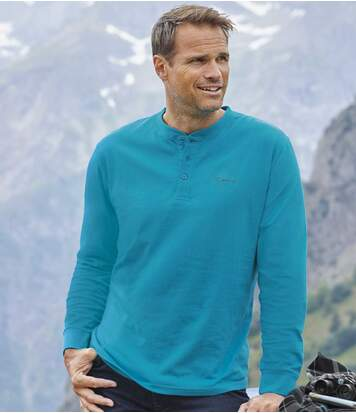 Pack of 2 Men's Turquoise & Grey Long-Sleeved Tops