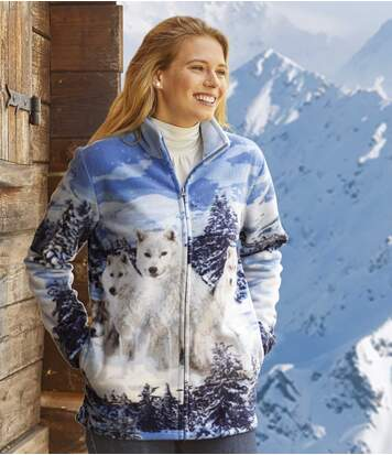 Women's Wolf Print Fleece Jacket