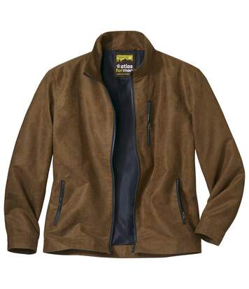 Men's Brown Full Zip Faux Suede Jacket