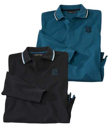 Pack of 2 Men's Long Sleeve Polo Shirts - Black Blue