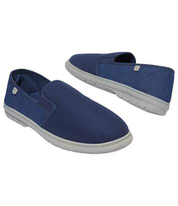 Men's Blue Denim and Canvas Moccasins