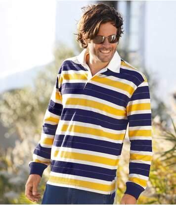 Men's Striped Polo Shirt - Jersey