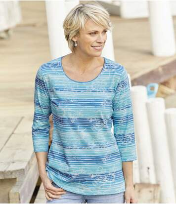 Women's Blue Seascape Print Top