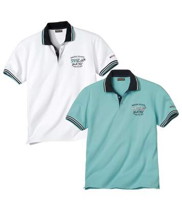 Pack of 2 Men's Nautical Short Sleeve Polo Shirts - Turquoise White