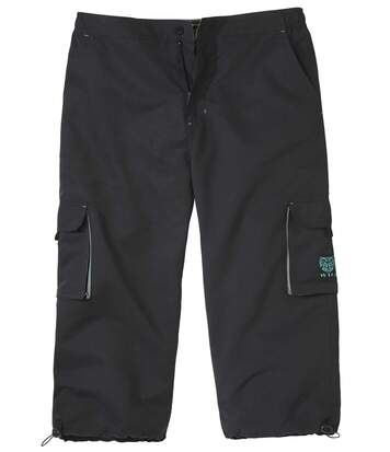 Men's Black Cropped Cargo Trousers