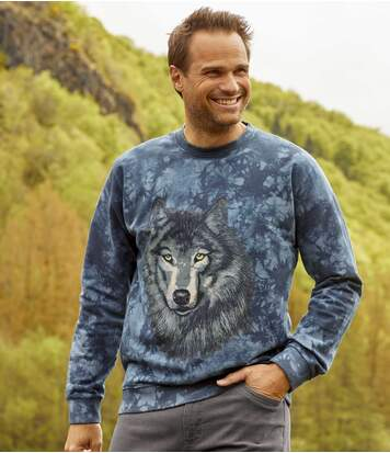 Men's Blue Wolf Print Brushed Fleece Sweatshirt