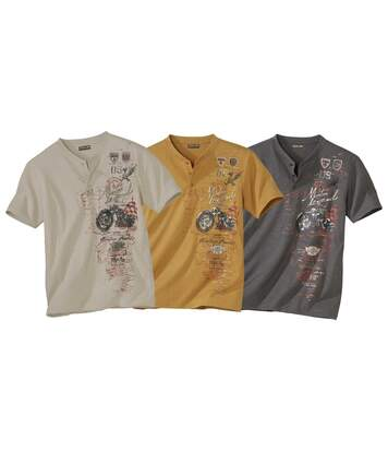 Pack of 3 Men's Tunisian-Collar Graphic T-Shirts