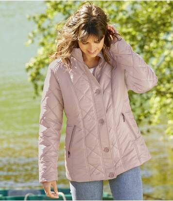 Women's Powder Pink Padded Jacket