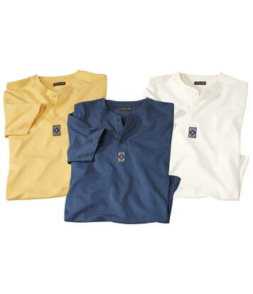 Zestaw 3 t-shirtów Original Spirit z dekoltem na guziki