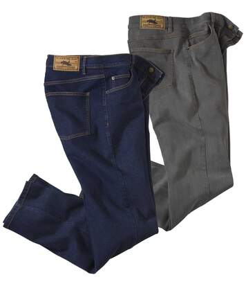2er-Pack Regular-Jeans in Blau und Grau