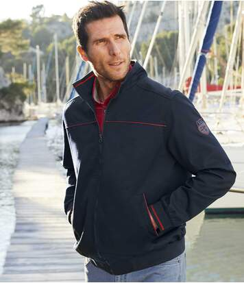 Men's Navy Twill Jacket - Full Zip