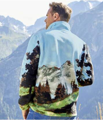 Fleecejacke mit Allover-Print