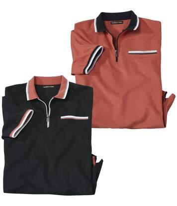 2er-Pack Poloshirts mit RV-Kragen