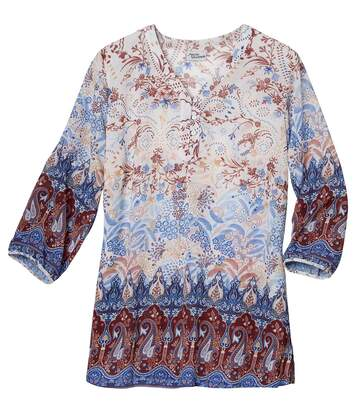 Women's Multi-Coloured Patterned Mousseline Fabric Top