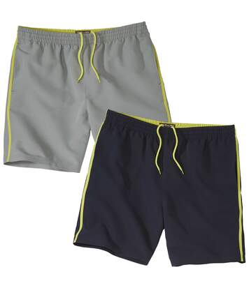 Pack of 2 Men's Microfibre Summer Shorts - Grey Navy