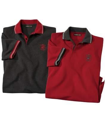 Pack of 2 Men's Short Sleeve Polo Shirts - Grey Burgundy
