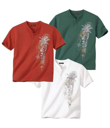 Pack of 3 Graphic Print T-Shirts - Green Red Ecru