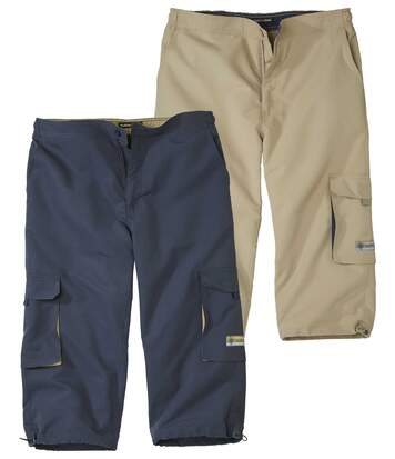 Pack of 2 Men's Cropped Cargo Trousers - Navy Beige