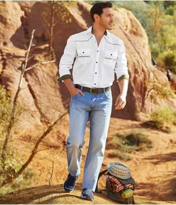 Sprane niebieskie jeansy Regular ze stretchem
