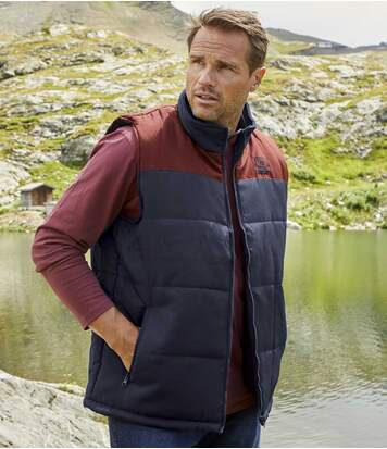 Men's Navy Stylish Padded Gilet - Water-Repellent - Full Zip