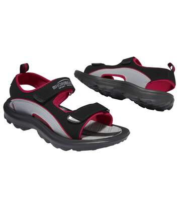 Men's Black & Red Casual All-Terrain Sandals