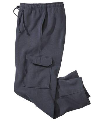Men's Blue Fleece Cargo Lounge Trousers