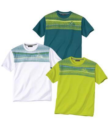Pack of 3 Men's Sporty Graphic Print T-Shirts - White Blue Green