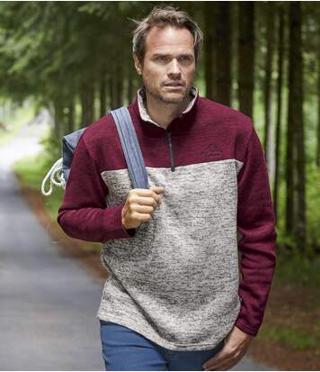 Pack of 2 Men's Brushed Fleece Jumpers - Grey Burgundy