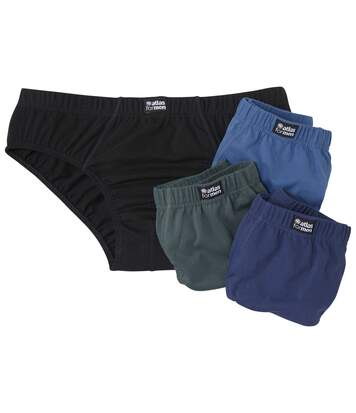 Pack of 4 Men's Plain Briefs - Black Blue Green
