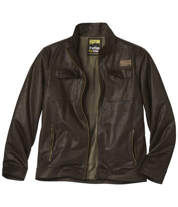 Men's Brown Faux Suede Jacket - Distressed-Look