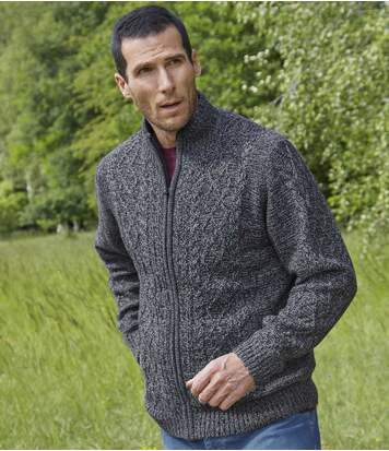 Men's Fleece-Lined Knitted Full Zip Jacket - Blue Marl