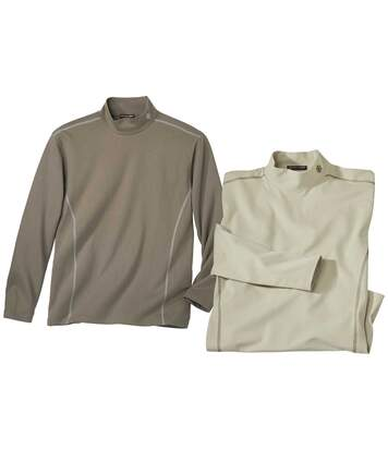 Pack of 2 Men's Turtleneck Snowflake Tops - Beige Taupe
