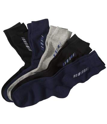 5 Pairs of Men's Patterned Socks - Black Navy Grey