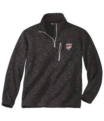 Men's Anthracite Brushed Fleece Jumper - Half Zip
