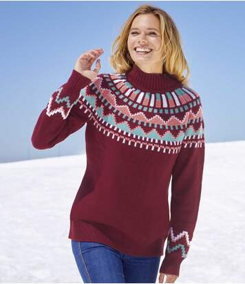 Women's Patterned Turtle Neck Jumper - Burgundy